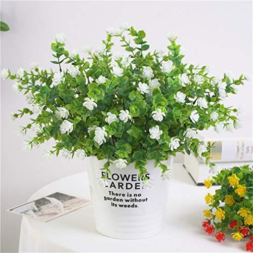 Idiytip 7 Stück Plastikblumen Eukalyptus Künstlich Blumen Kunststoff Unechte Pflanze Kunstblumen Balkon Außen Garten Deko(Weiß)