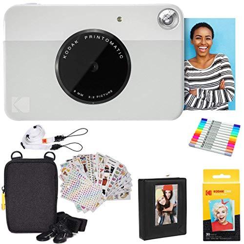 KODAK Printomatic Instant Camera (grijs) geschenkverpakking + zinkpapier (20 vellen) + luxe etui + 7 sets stickers + dubbele puntige marker + fotoalbum + hanglijst + schouderband
