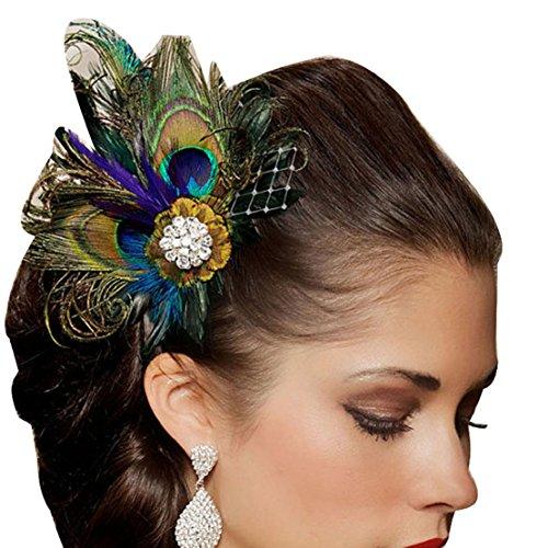 TONSEE Strasssteine Peacock Feather Braut Hochzeit Haar Clip Pin Head Haarnadel