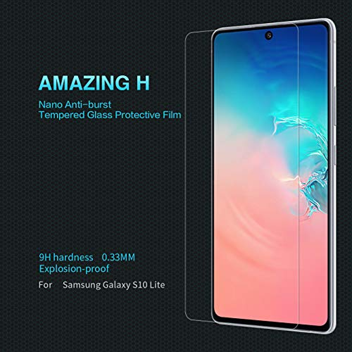 nillkin amazing h anti-explosion tempered glass screen protector guard for samsung galaxy s10 lite (transparent) full screen coverage (except edges)