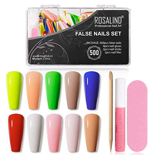 ROSALIND 500pcs Colorful False Gloss Nails Kit Long Press On Nails Coffin Cute Fake Nails Set 10 Colors Full Cover False Nails Acrylic With 4pcs Nail Glues, 2pcs Nail Sticks and 2pcs Nail Files