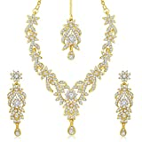 Sukkhi Gold Plated Australian Diamond Choker Necklace With Drop Earrings And Mangtikka Set or Women