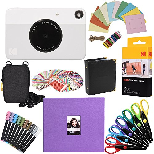 Kodak Printomatic Instant Camera (Grey) Gift Bundle + Zink Paper (20 Sheets) + 8x8 Cloth Scrapbook + Case + 6 Edged Scissors + 100 Sticker Border Frames + Markers + Hanging Frames + Album