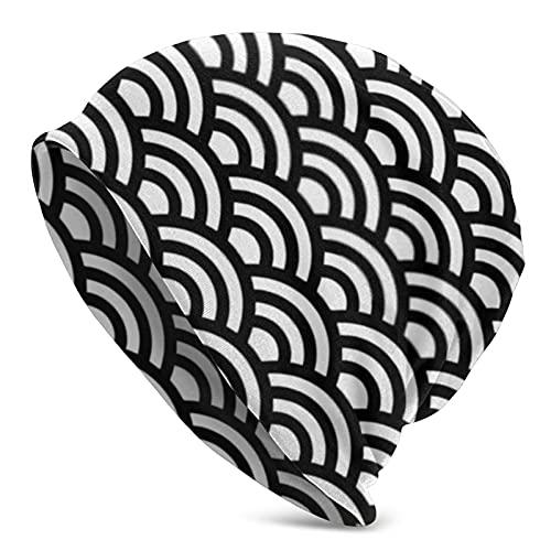 ZVEZVI Gorro de invierno tradicional con patrón japonés, color blanco y negro, cálido, elástico, suave, para hombres y mujeres, comodidad durante todo el año