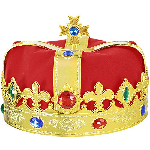 Skeleteen Regal Gold King Crown - Royal Red Felt Imperial Jeweled Mens and Womens Unisex Party Dress Up Accessory Crowns - 1 Piece