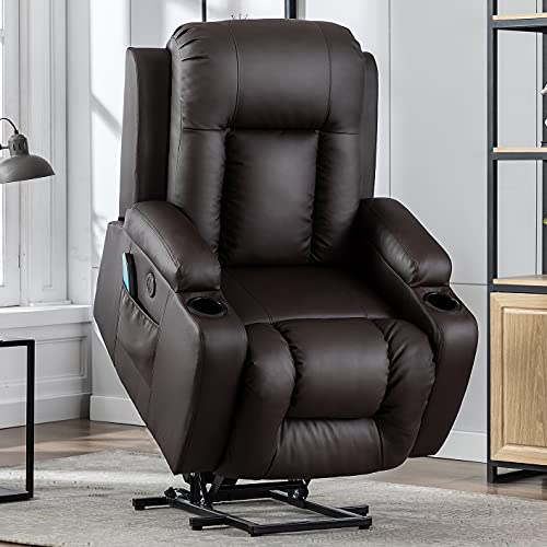 Vicluke Power Lift Recliner Chair with Massage and Heat for Elderly, Leather Electric Recliner Lift Chair with 2 Side Pockets, Cup Holders and USB Port for Living Room (Brown)
