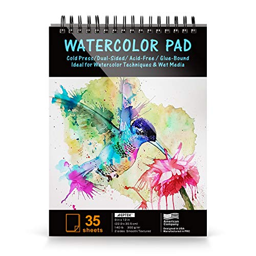 Paper Pad, AGPTEK Watercolor Paper Pad 9 X12 Inches, 140lb/300gsms, 35 Sheets, Acid Free Great for Watercolor Painting and Wet Media, 1 Pack