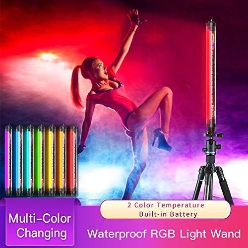 LUXCEO Handheld Photography Light Professional LED Video Light Wand 12 Lighting Mode,...