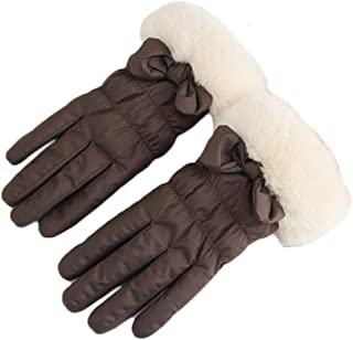 WUXiaodanDan Women's autumn and winter plus velvet thickening gloves windproof cold warm gloves driving riding touch screen gloves