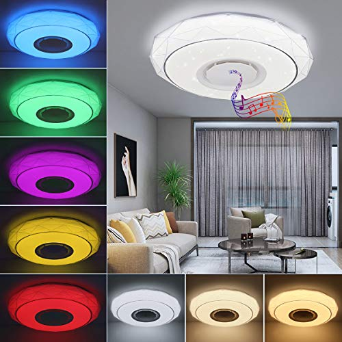 SHILOOK Led Deckenleuchte Farbwechsel mit Fernbedienung, 24W Dimmbar Deckenlampe mit Bluetooth Lautsprecher, APP-Steuerung, 3000-6500K 40cm Rund Weiß für Schlafzimmer Kinderzimmer