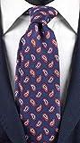 Graffeo Cravatte AN5520 Cravate pour homme, impression de soie, bleu marine, cachemire multicolore