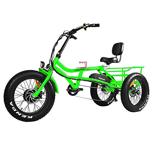 Addmotor Electric Tricycle Three Wheel 750W Electric Trike 20 Inch Fat Tires Ebike Lithium Battery M-360 3-Wheel Electric Bikes for Adult (Red)