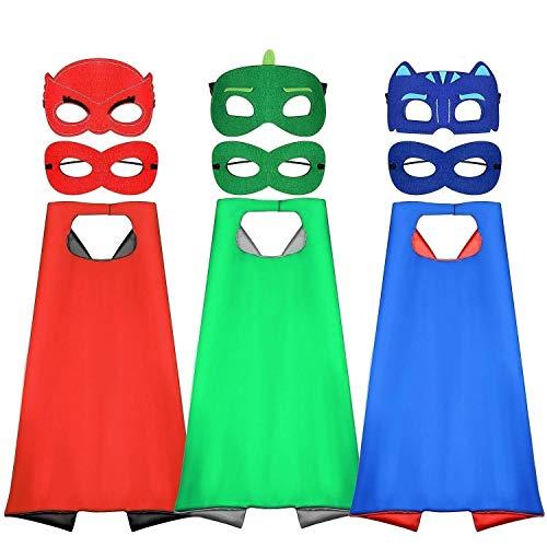 Tacobear Superhelden Cosplay Kostüme für Kinder inklusive 3Stk. Superhelden Umhang und 6Stk. Superhelden Masken für Jungen Mädchen Geburtstag Party