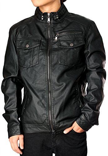 RNZ PREMIUM Designer Faux Leather Jacket M1 L, Black-US Fit