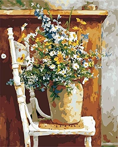 ZXDA Digital Painting In Oil Painting Vase, Paint Flower, Hand-Painted Home Decoration Vase Digital Painting Home Decoration A15 45x60cm