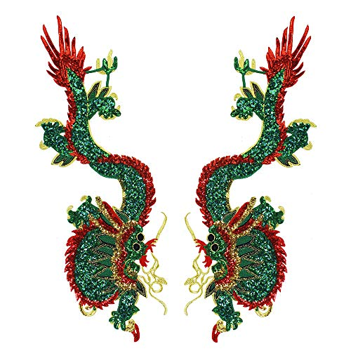 Parches tela bordado dragón lentejuelas, coser ropa