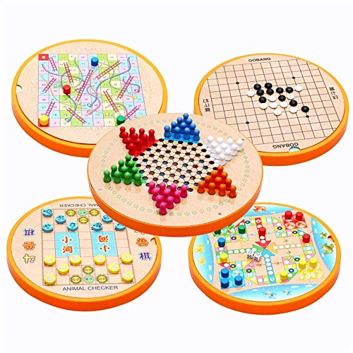 Checkers Houten 5 in 1 Chinese Checkers & Gobang Houten bordspel for familie bordspellen aijia ( Color : True Color , Size : 28.6x28.6cm )