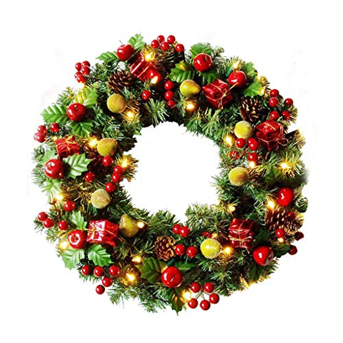 Verlichte kerstkrans/kerstslinger met led-lantaarns, kerstkrans aan de voordeur | geschenken | bruiloft | eetkamer | verjaardag