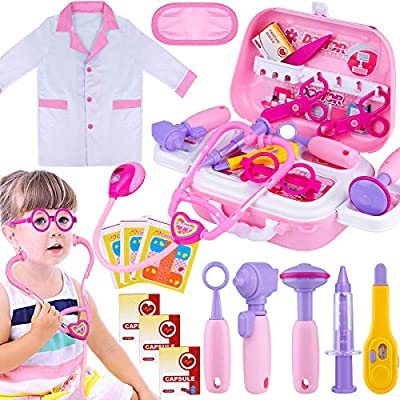 Giftinthbox Kids Doctor Kit for Girls, Pink Doctors kit for Kids 22 Pieces Pretend Play Medical Toys Set with Roleplay Doctor Costume and Carry Bag for Little Girls by GiftInTheBox