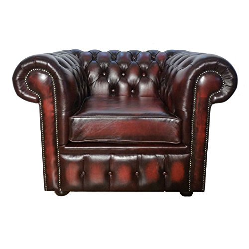 Chesterfield Antique Oxblood Red 100% Genuine Leather Club Armchair