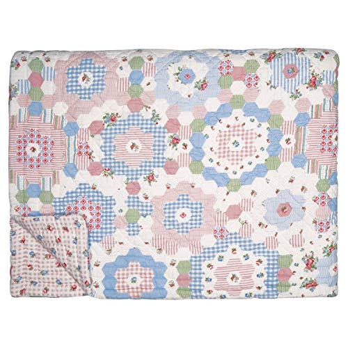 GreenGate Quilt Henrietta Weiß Rosa 140x220 Tagesdecke Baumwolle Decke Überwurf