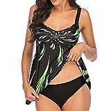 Orgrul Bikinis Mujer Conjunto de Dos Piezas de Traje de Baño A Rayas de Cintura Alta Volantes para Mujer Traje de Baño Cintura Alta sin Tirantes de Corte Alto 1181 (L, Verde)
