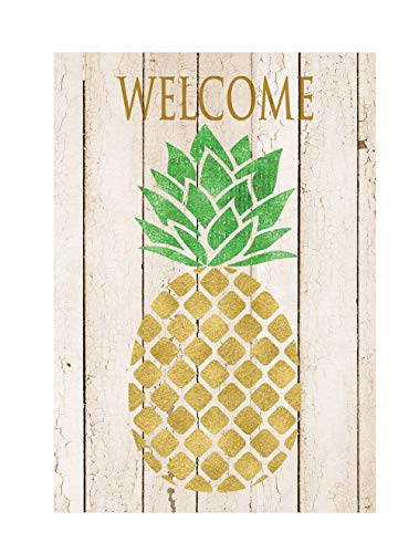 Custom Decor Farmhouse Pineapple Welcome - Garden Size, Decorative Double Sided, Licensed and Copyrighted Flag - Printed in The USA Inc. - 12 Inch X 18 Inch Approx. Size