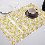 FloraGrantnan - Mantel individual rectangular lavable, color amarillo y blanco, estilo Doodle exótico jardín follaje con chamo, para mesa de conferencias, Dinging Home Office Decor, juego de 4