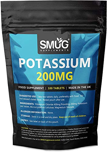 Potassium 200mg Tablets | Smug Supplements | Can Contribute to Normal Blood Pressure, Nervous System, Muscle Health and Electrolyte Balance (200 Tablets)