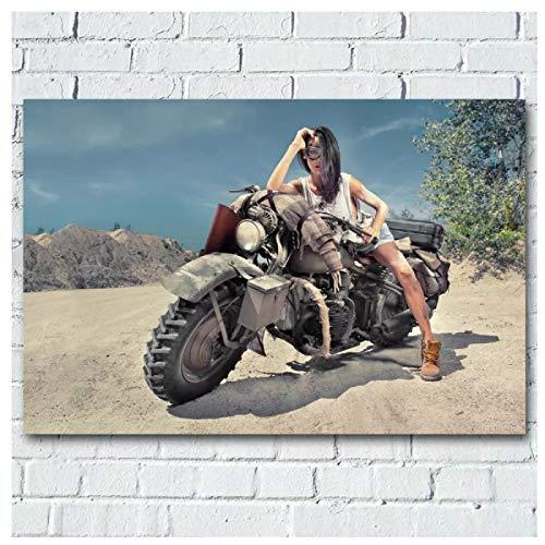 Lomoko Chica en el Desierto, Bicicleta Todoterreno, Imagen de Motocicleta, Carteles artísticos de Pared, Impresiones para la decoración del hogar, impresión en Lienzo, 50x70 cm sin Marco