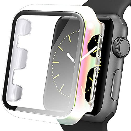 AISPORTS Compatible con Apple Watch Protector de pantalla de 38 mm, iWatch Series 3/2/1, ultrafina, rígida, HD, transparente, cobertura total, funda protectora para Apple Watch Series 3/2/1