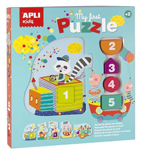 APLI Kids- Puzle Tren y Piezas de Madera, Color surtido (17202) (Juguete)