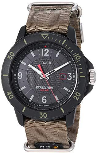 Timex Men's TW4B14500 Expedition Gallatin Solar Green/Black Nylon Slip-Thru Strap