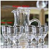 shihualine 15ml Unique Mini Wein Schnapsgläser Sake Glas-Set Spirit Glas Cup Transparent Alkohol Mini Schnapsglas mit Stiel klein Trinken (Set von 6+ 1)
