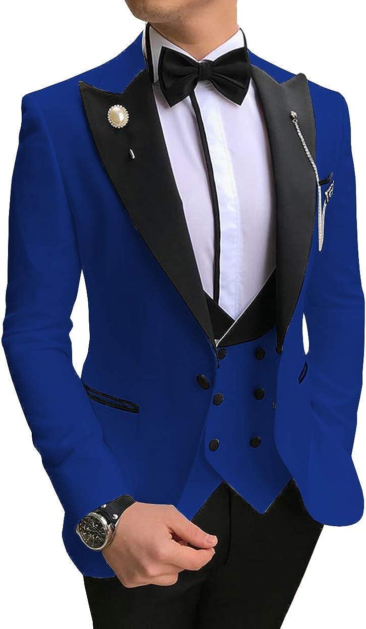 ToonySume Men's Casual Suits Slim Fit 3 Piece Notch Lapel Prom Tuxedos(46,Blue)