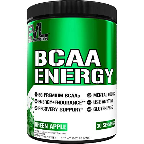Evlution Nutrition BCAA Energy - High Performance Amino Acid Supplement for Anytime Energy, Muscle Building, Recovery and Endurance, Pre Workout, Post Workout (30 Servings, Green Apple)