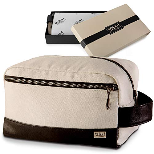 "Toiletry Bag for Men - Canvas Dopp Kit for Travel, Gym, Grooming & Shaving, Waterproof Lining, 10"" x 4.5"" x 5.5"", Olive Green Color with Vegan Leather Trim, Comes in Gift Box by Kalooi"