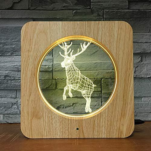 Cervo che salta stile animale in plastica ABS Cornice per foto di ized fai da te 2541 Lampada da tavolo a LED a luce notturna 3D Decorazione per camera da letto per bambini regalo di compleanno