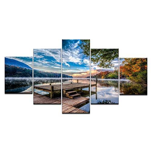 KJLTLD Leinwand Bild - HD Naturlandschaft - 200 x 100 cm Vlies Wohnung Wanddeko Wand Wohnzimmer - 5 Teilig - Kunstdrucke - Fertig zum Aufhängen