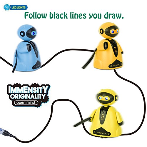 PintreeLand Mini Magic Inductive Robot Toy Follow Black Line with LED Light Educational Toys for Kids (Inductive Robot)