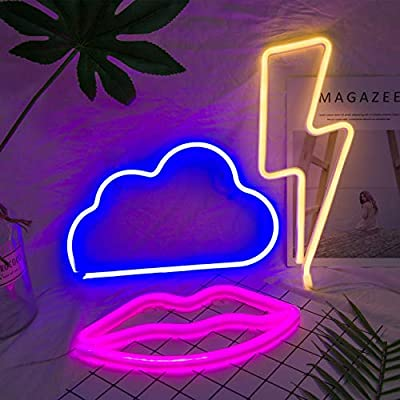 3 Pack LED Decorative Neon Night Signs- Pink Lip Blue Cloud Warm Lightning Shaped Neon Wall Decoration Lights with Hanging Hook Holes LED Light Party Supplies for Wedding Birthday Holiday Home Decors