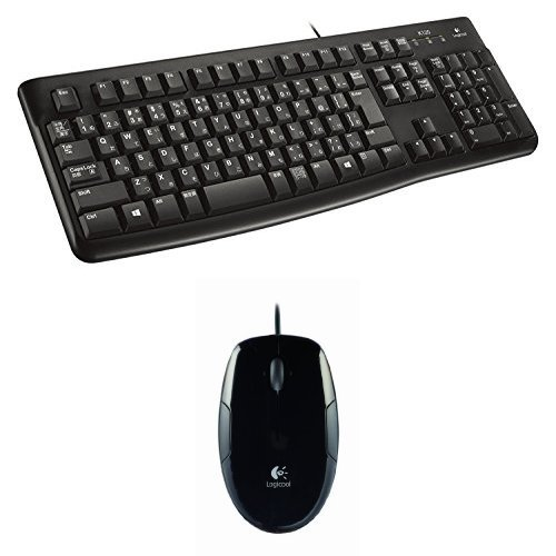 【ロジクール 静音設計 有線キーボード/レーザーマウス セット】 K120 + LS1t