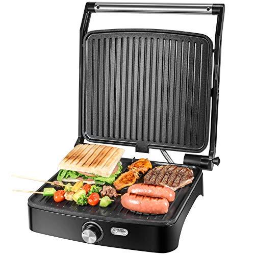 OSTBA Kontaktgrill, Elektrischer Indoor-Grill, Sandwich Maker mit Temperaturregelung, 4 Scheiben Antihaft-Vielseitiger Grill, 180 Grad offen für alle Größe von Lebensmitteln, 1800W