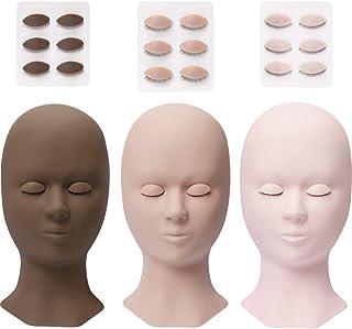 Mannequin hoofd voor wimperextensions met 4 paar verwijderbare vervangende oogleden donkerbruin oefenhoofd modelset voor b...