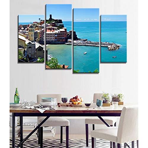 WLEZY canvas schilderij 4 stuks modern canvas schilderij muurkunst poort sea terre landschap druk op canvas foto's slaapkamer decor