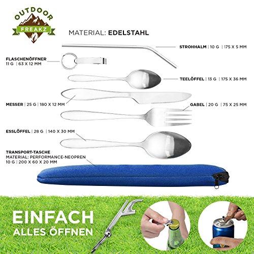 OUTDOOR FREAKZ Outdoor Reisebesteck und Campingbesteck aus Edelstahl mit Neoprenhülle (4er Set ++) - 3