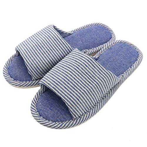 Zapatillas Antideslizantes de Lino a Rayas de Estilo recreativo cómodas para Parejas para Uso en Interiores (Azul Claro, EU39-40)