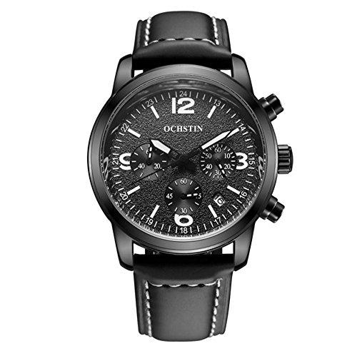 XINLEE Herren-Armbanduhr Zeiger zeigt Multifunktions-Bewegung Lederbanduhr, 003