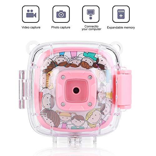 Topiky waterdichte mini-camera, 2,0 inch kleurrijke 720P 30FPS videocamera 30M onderwaterbescherming reis cartoon baby camera festival verjaardagscadeau voor kinderen met waterdichte behuizing, adapter, roze