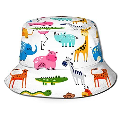 Sombrero del cubo de la moda, sombrero del sol de los animales del bebé lindo al aire libre plegable sombrero del pescador del ala ancha